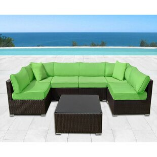 Ilebo 7 Piece Rattan Sectional Set with Cushions By Latitude Run