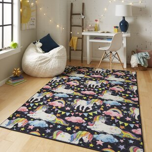 Sunny Side Loomed Prismatic Unicorn Wish Black Pink Area Rug