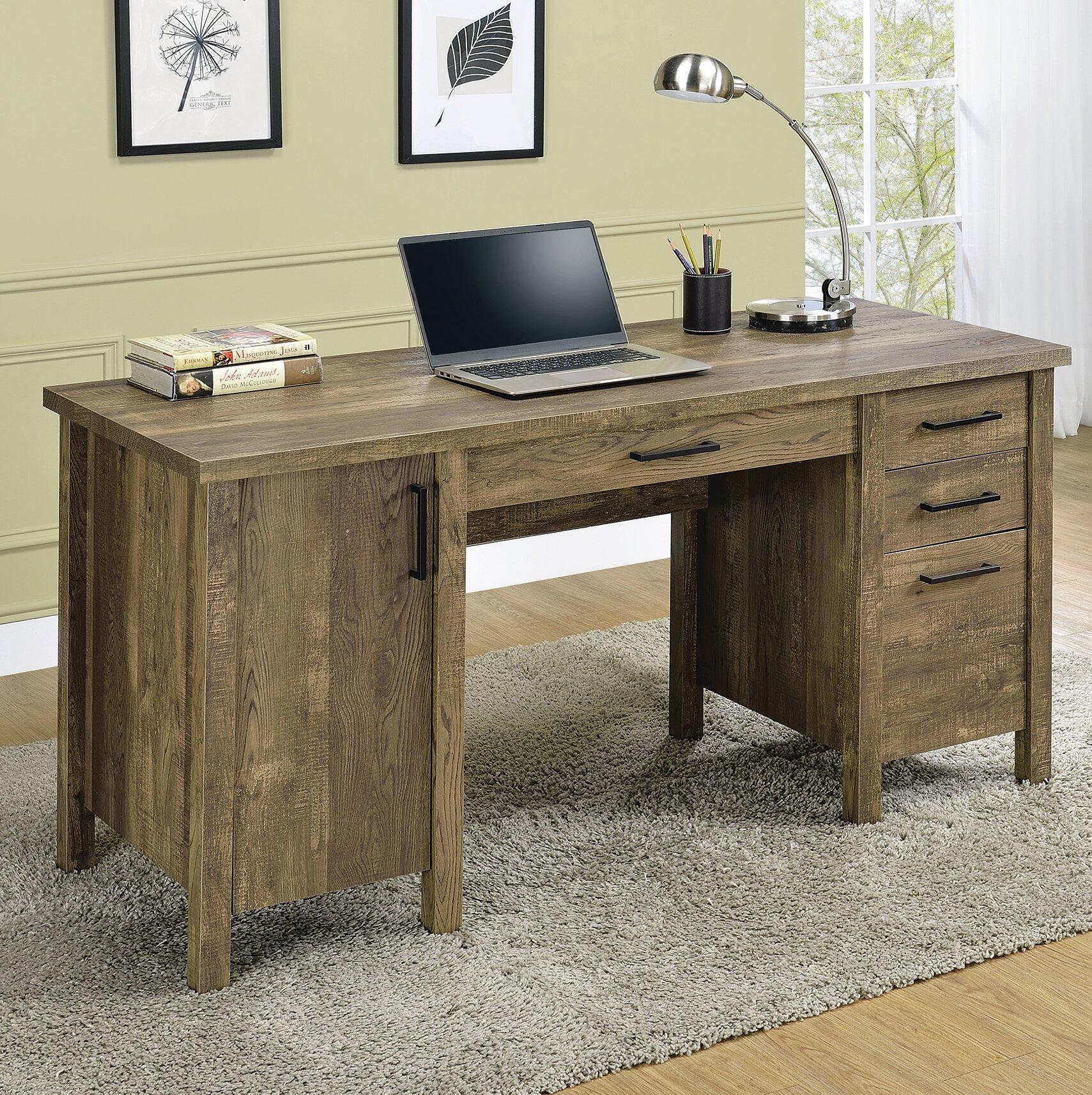 Foundry Select Chanson 3 Drawer Adjustable Shelf Office Desk Rustic Oak Reviews
