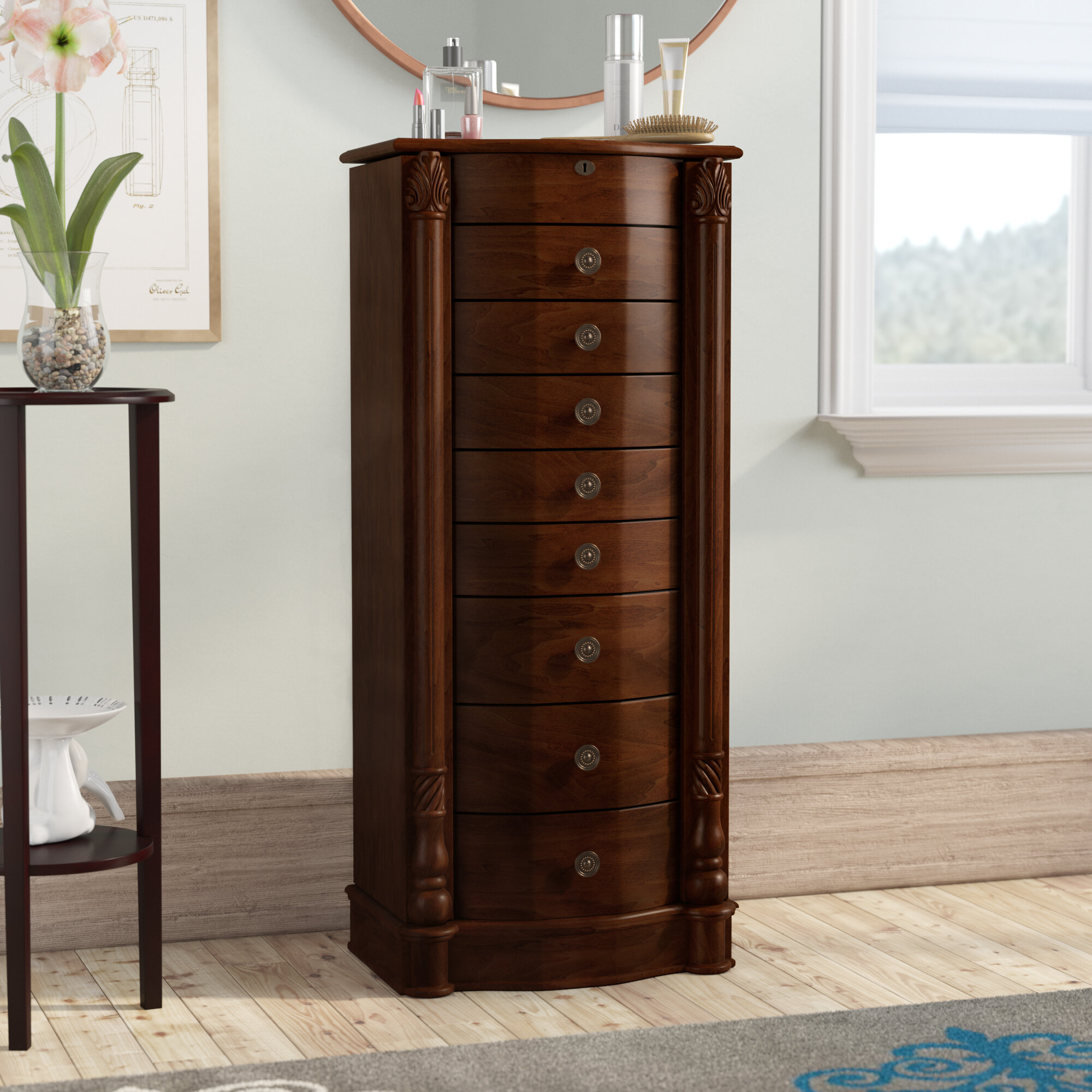 Darby Home Co Zakhar Free Standing Jewelry Armoire With Mirror Reviews Wayfair