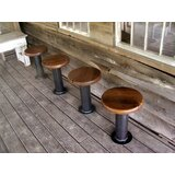Bolt Down Urban Industrial Pedestal Bar Stools -- Bar Height (Set of 4) by The Strong Oaks Woodshop