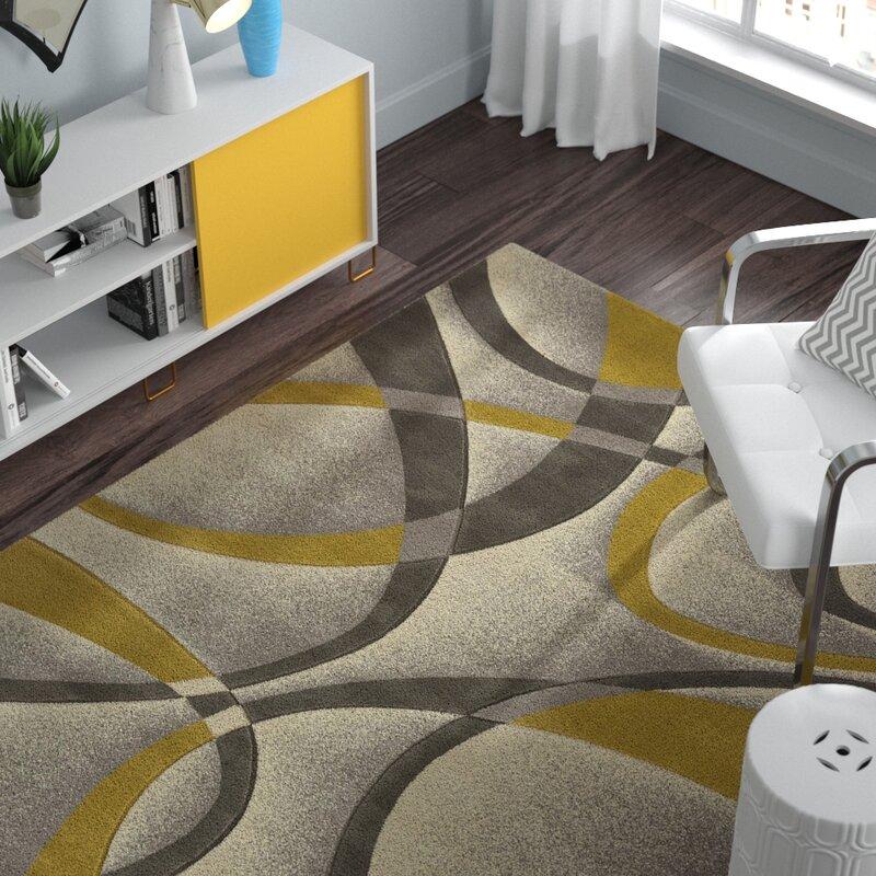 Ebern Designs Dov Abstract Silver Gold Area Rug Reviews Wayfair