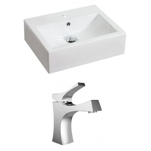 Buy clear Ceramic Rectangular Vessel Bathroom Sink with Faucet and Overflow By Royal Purple Bath Kitchen