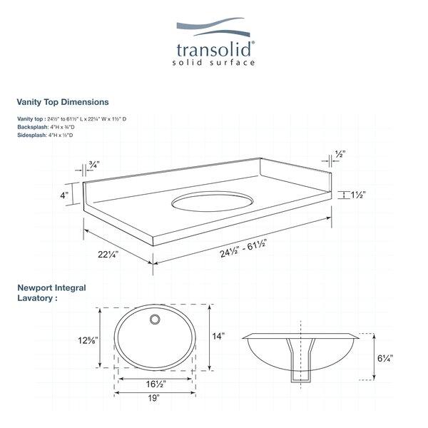 Transolid Newport 43 Solid Surface Single Bathroom Vanity Top Wayfair