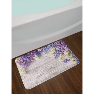 Lilac Flowers Bouquet On Wood Table Spring Nature Romance Love Theme Non-Slip Plush Bath Rug by East Urban Home Sale