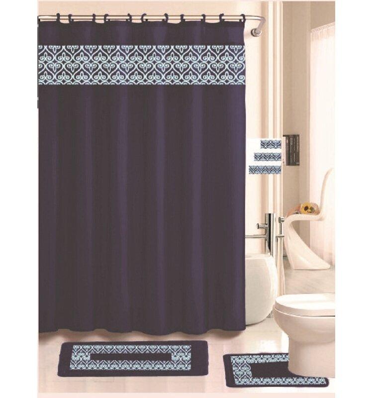 Beryl 18 Piece Embroidered Shower Curtain Set