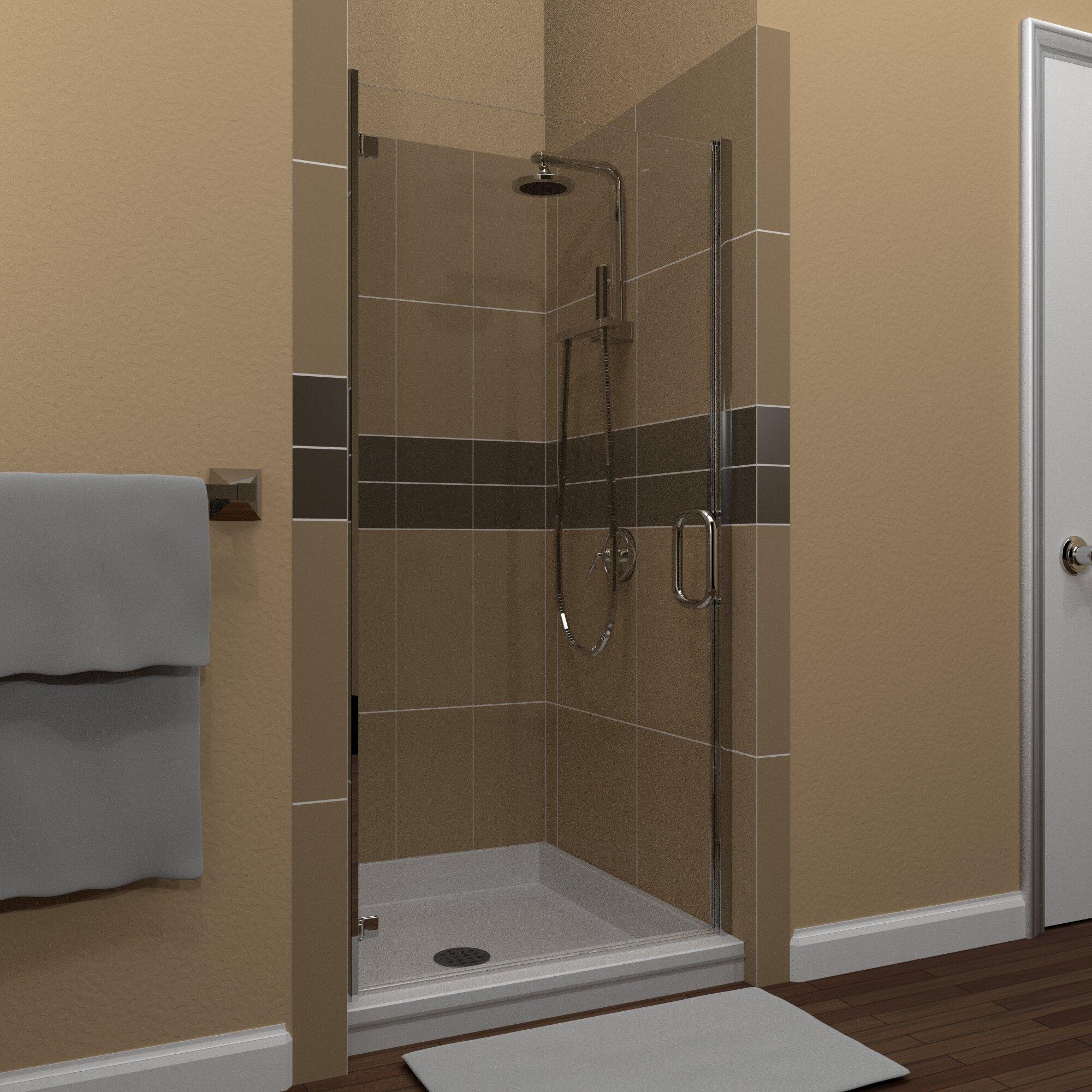 Mp Swinging 27 X 73 Hinged Semi Frameless Shower Door