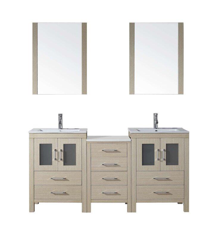 "brayden studio frausto 66"" double bathroom vanity set with ceramic"
