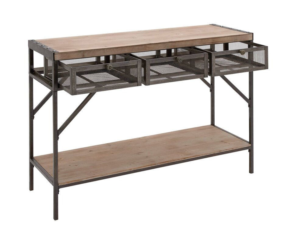 cole & grey wood metal console table & reviews | wayfair