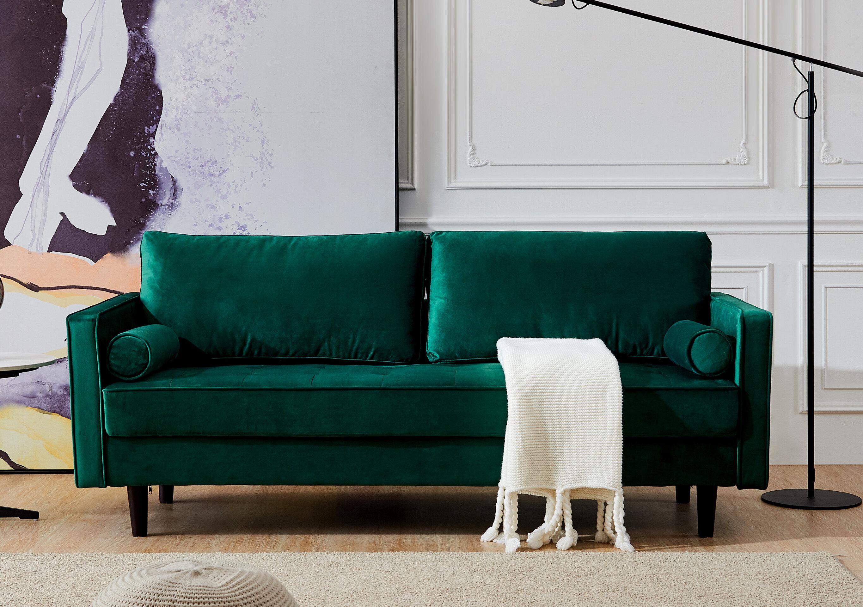 Corrigan Studio Mid Century Modern Velvet Fabric Bench Sectional Couch Sofa 79 W Red Wayfair Ca