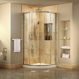Prime 36 inch  x 74.75 inch  Round Sliding Shower Enclosure with Base Included