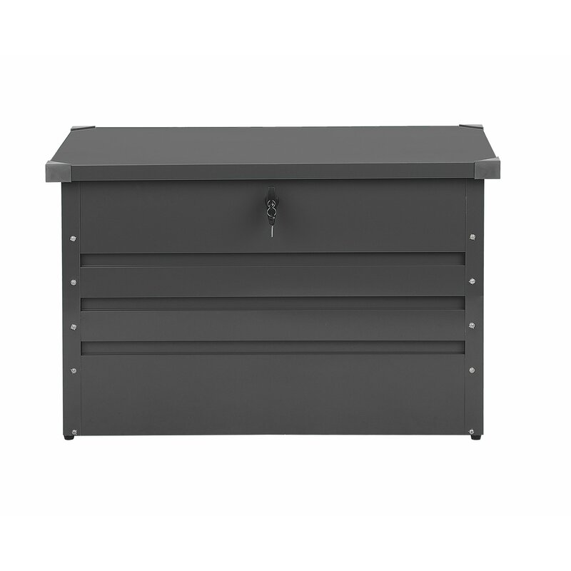 Beliani Cebrosa Outdoor 79 Gallon Metal Deck Box