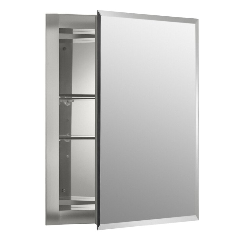 "k-cb-clr1620fs kohler 16"" x 20"" recessed frameless medicine cabinet"