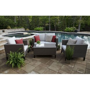 Brayden Studio Pellston 4 Piece Rattan Sunbrella Sofa Set with Cushions (Set of 4)