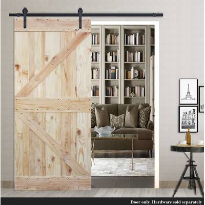 Calhome 2 Side Solid Wood X Paneled Slab Interior Barn Door Wayfair