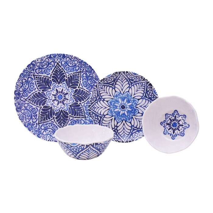 Rustic Melamine Dinnerware Sets.Rustic Medallion 12 Piece Melamine Dinnerware Set Service For 4