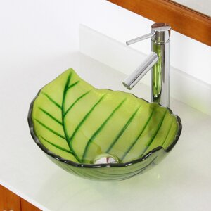 Hot Melted and Hand Painted Spring Leaf Transparent Bowl Specialty Vessel Bathroom Sink