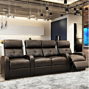 Latitude Run Contemporary Tufted Home Theater Curved Row Seating (Row of 4)