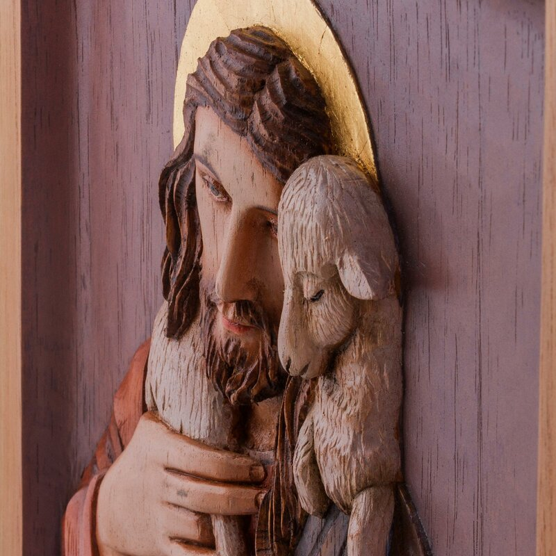 Novica christ the shepherd cedar relief panel wall décor wayfair