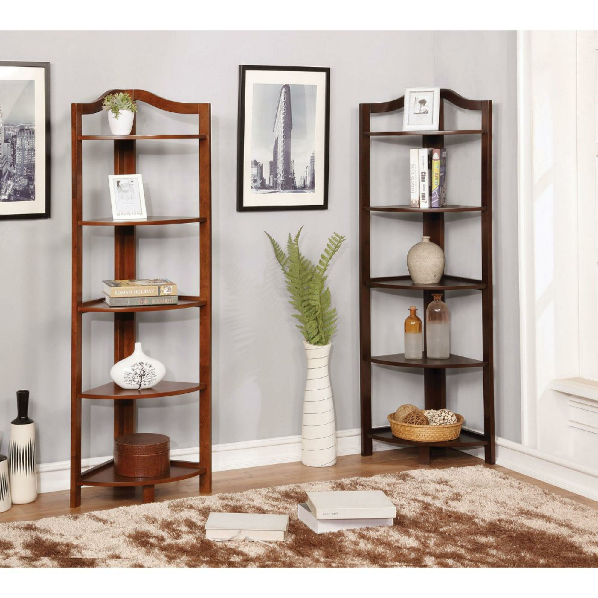 Charlton Home Lecroy Transitional Wooden Open Frame Corner Bookcase Wayfair