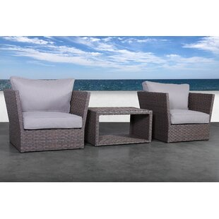 Cody 3 Piece Rattan 2 Person Seating Group With Cushions by Rosecliff Heights Sale