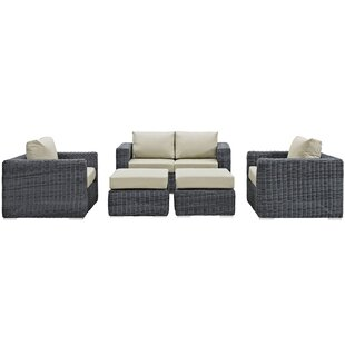 Brayden Studio Keiran 5 Piece Sunbrella Sectional Set with Cushions
