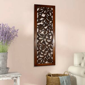 Bungalow Rose Mango Wood Panel With Leaves And Scroll Work