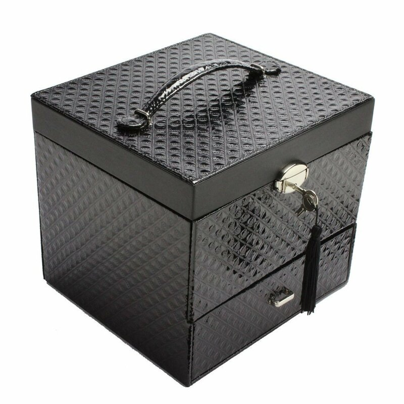Leatherette Jewellery and Cosmetic Display Box
