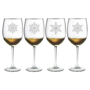 Paper Snowflakes 4-Piece Stemmed Wine Glass Set