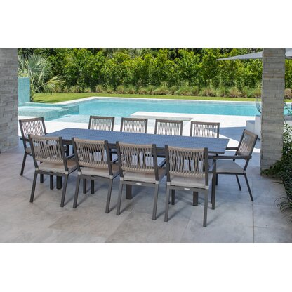 Explorer 11 Piece Sunbrella Dining Set With Cushions