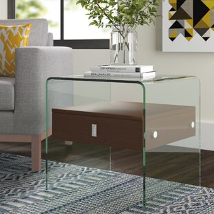 Price Check Joaquin End Table with Tempered Glass by Wade Logan