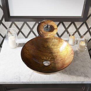 Price Check Foil Underlay Glass Circular Vessel Bathroom Sink ByMR Direct