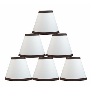 6 Cotton Hardback Empire Lamp Shade with Trim (Set of 6)