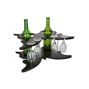 Butterfly Shaped Wooden Holder Display 2 Bottle Tabletop Wine Glass Rack