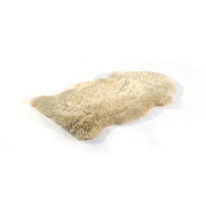 Long Wool Gold Star Sheepskin Beige Rug