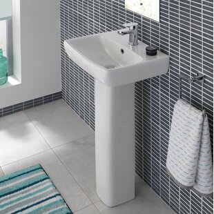 Compare prices Energy Ceramic 18 Pedestal Bathroom Sink with Overflow By Bissonnet