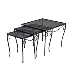 Mesh Top Occasional Nest of 3 Wrought Iron Side Table