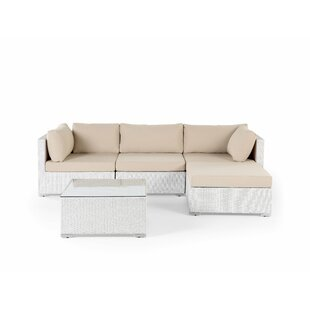 Mcloughlin 5 Piece Rattan Sectional Seating Group with Cushions