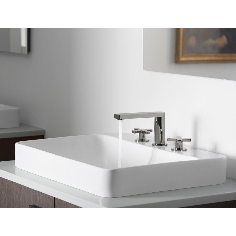 Biscuit KOHLER K-2660-1-96 Vox Rectangle Vessel Above-Counter Bathroom Sink with Single Faucet Hole