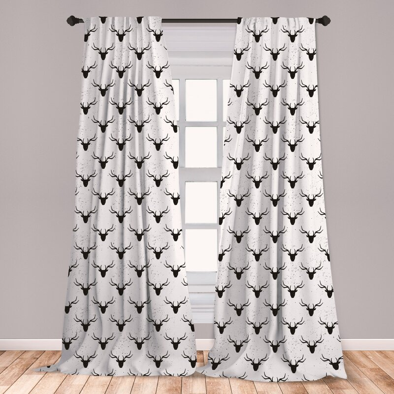 East Urban Home Ambesonne Deer 2 Panel Curtain Set Deer Head With Antlers Silhouette Form Stained Worn Background Animal Illustration Lightweight Window Treatment Living Room Bedroom Decor 56 X 63 Black White Wayfair
