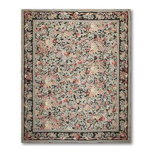 Best Price One-of-a-Kind Groat Needlepoint Aubusson Hand-Woven Black Area Rug ByAstoria Grand
