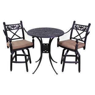 California Outdoor Designs Baldwin 3 Piece Bar Height Dining Set with Cushions