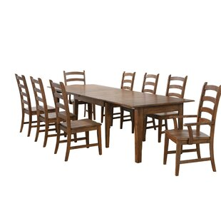 Huerfano Valley 10 Piece Extendable Solid Wood Dining Set Loon Peak