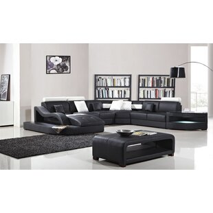 Deanne Leather Modular Sectional by Orren Ellis Herry Up
