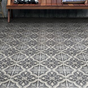Lima 7.75 inch  x 7.75 inch  Ceramic Field Tile in Charcoal Gray/White