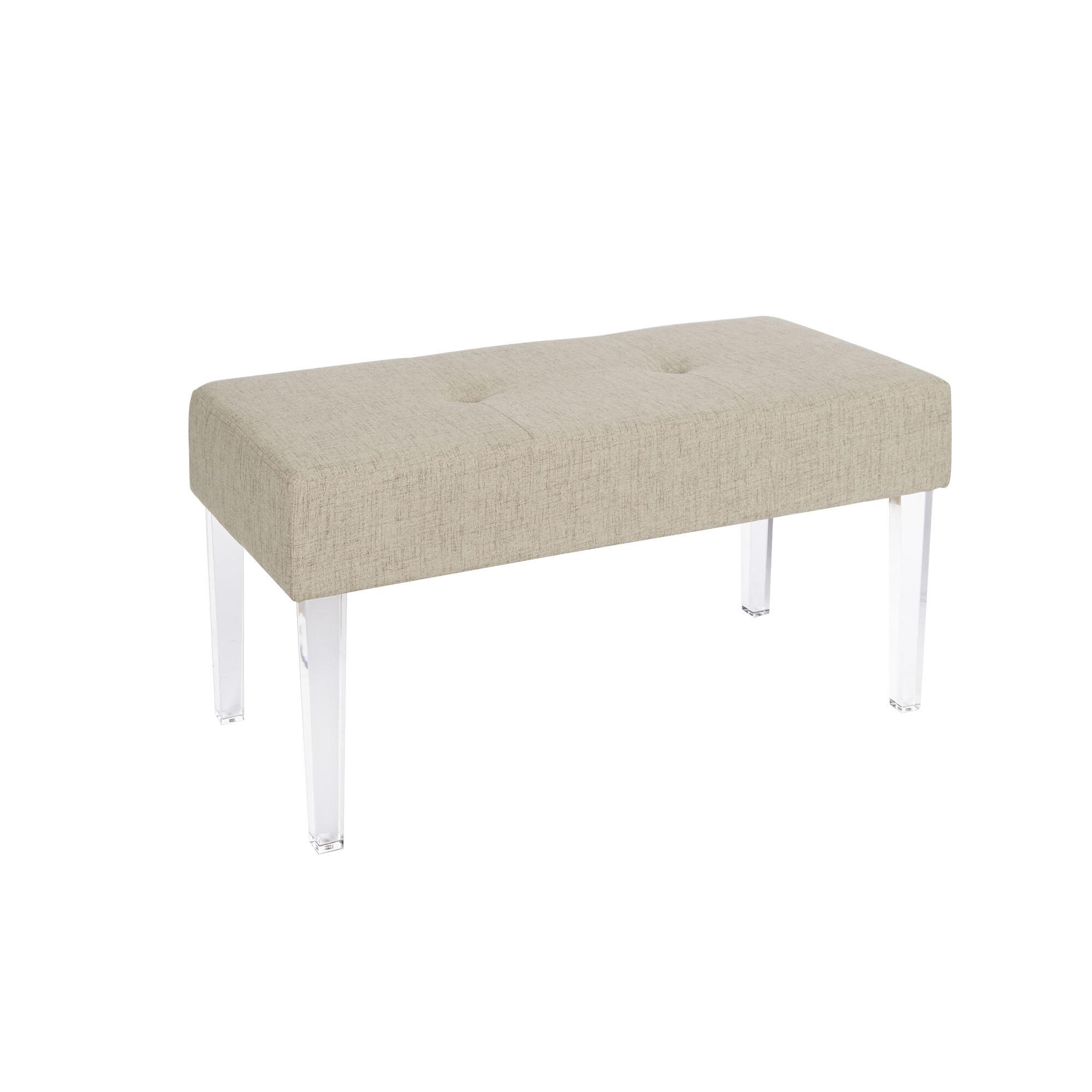 Amey Acrylic Leg Rectangular Upholstered Bench