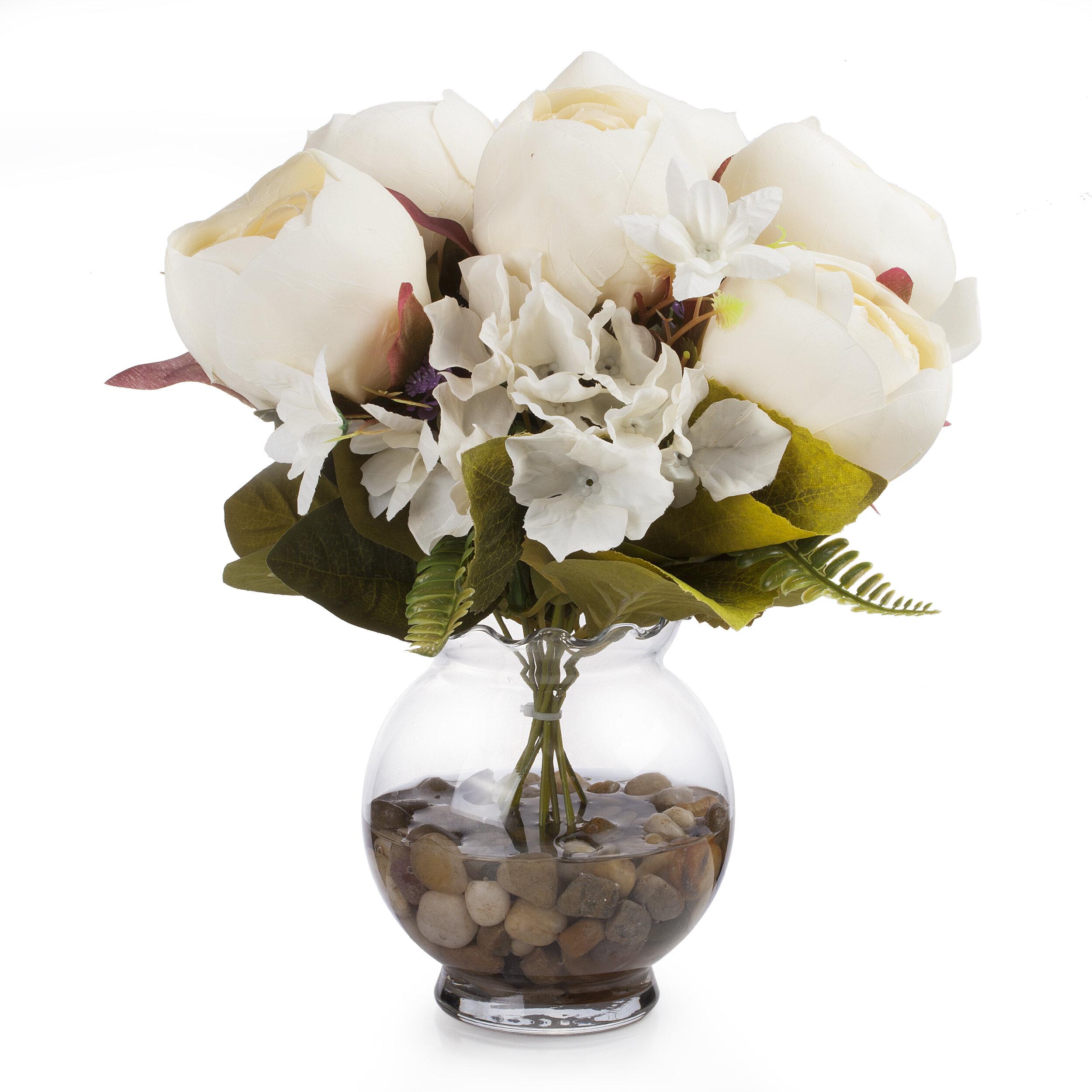 Latitude Run Silk Peony And Hydrangea Mixed Floral Arrangement In Vase Wayfair