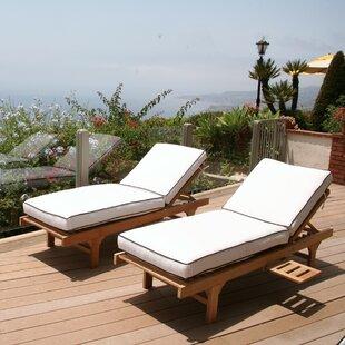 Trijaya Living Jaya Reclining Teak Chaise Lounge Set with Cushion (Set of 2)