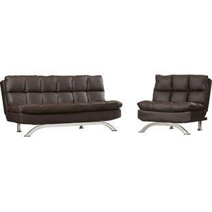 Latitude Run Pennock Sleeper Leather Configurable Living Room Set
