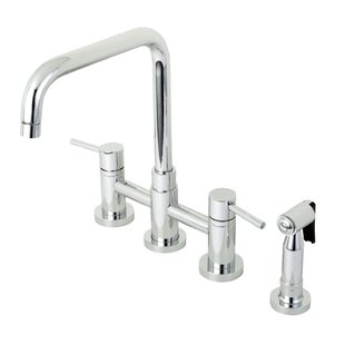 Kingston Brass Concord Centerset Double Handle Kitchen Faucet with Side Spray